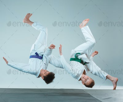 The two boys fighting at Aikido training