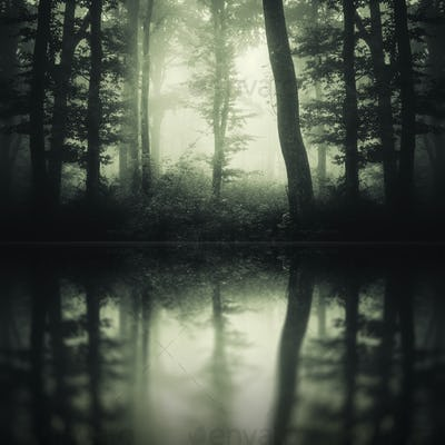Dark lake in mysterious forest