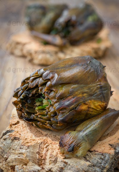Artichokes roasted on the grill