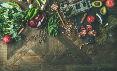 Winter vegetarian or vegan food cooking ingredients, copy space