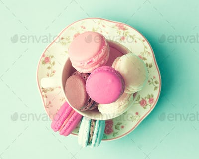 French macaroons in a cup