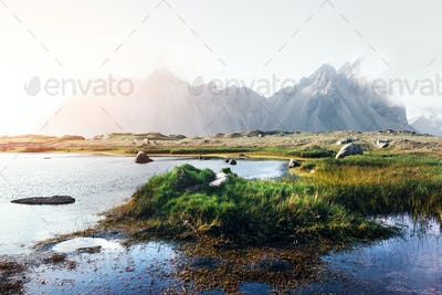 Famous Stokksnes mountains on Vestrahorn cape