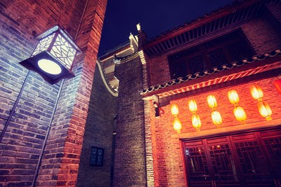 Traditional old town architecture in Guilin at night.