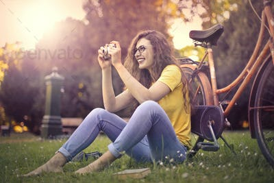 Girl sitting in a park