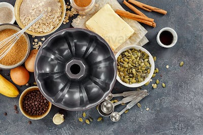 Cake pan with ingredients for baking