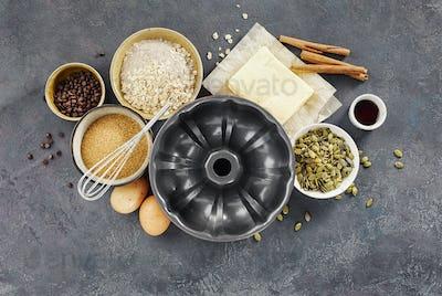 Cake pan with ingredients for baking