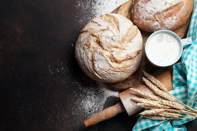 Homemade crusty bread and milk