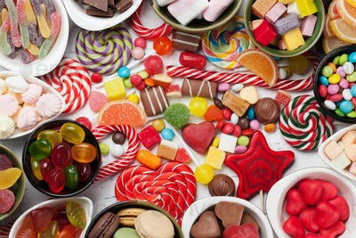 Colorful sweets. Lollipops and candies
