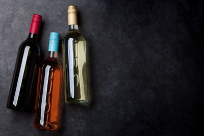 Red, pink and white wine bottles