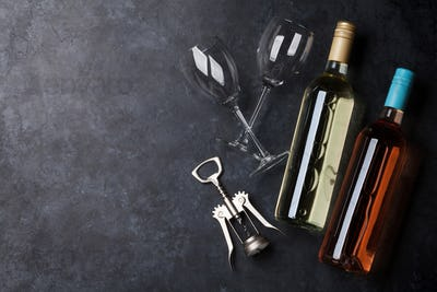 Rose and white wine bottles