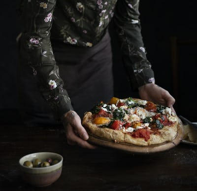 Serving pizza food photography recipe idea