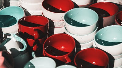 Colorful ceramic bowls