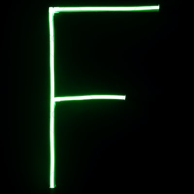 Green neon lights alphabet letters