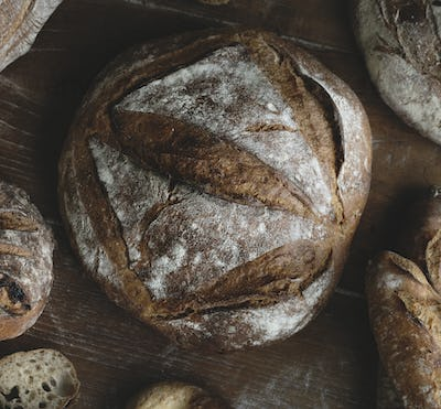 An assortment of bread loaves food photography recipe ideas