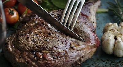 Close up of a lamb chop food photography recipe idea