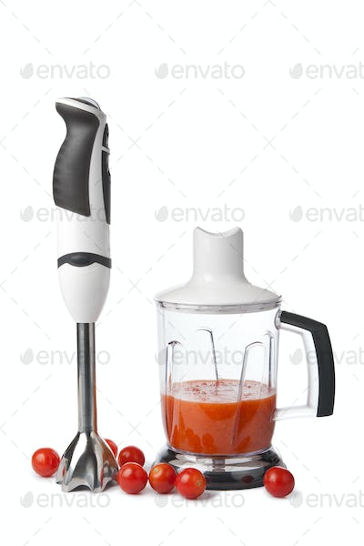 blender and tomatoes isolated