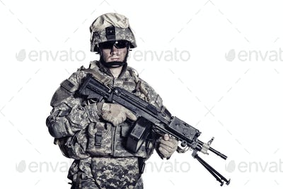 Marines corps fighter with machine gun studio shot