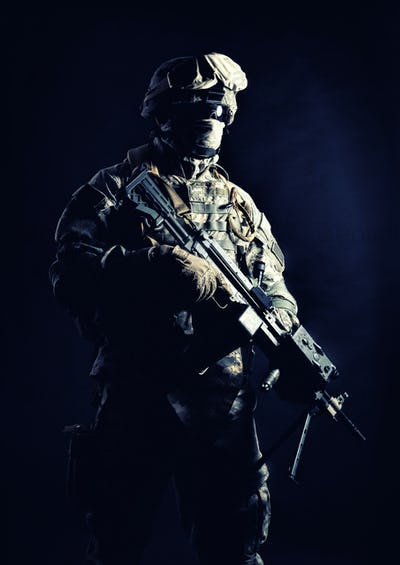 United States Marines machine gunner night shot