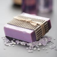 herbal soap and salt. spa and body care background