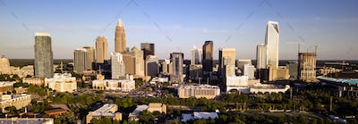 Long Panoramic Aerial view of the Downtown City Skyline of Charllotte NC