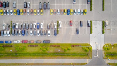 Car parking lot viewed from above Aerial view. Top view