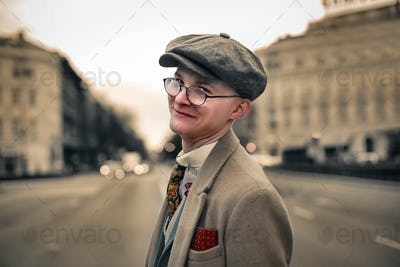 Boy outdoor dressed in vintage style