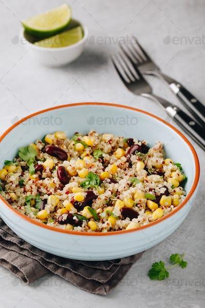 Quinoa salad with sweet corn, black beans and cilantro.