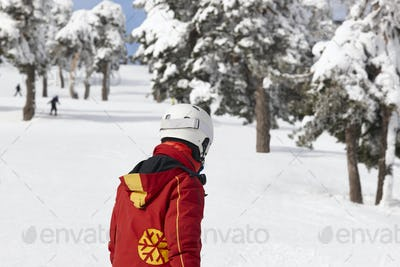 Skiers on snowy forest slope. White mountain landscape. Winter sport