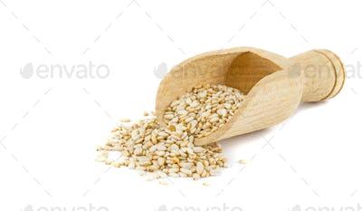Sesame Seeds in a Wooden Scoop