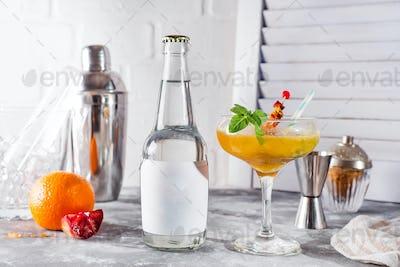 Frozen cocktail smoothie Margarita on wooden background ,