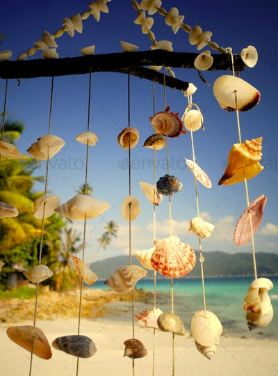 Sea shell chime at a tropical lagoon