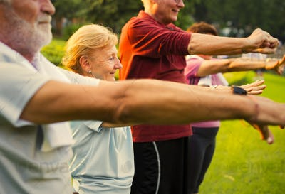 Senior adults doing their daily exercise routine