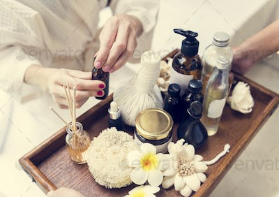 Assortment of spa products and oils
