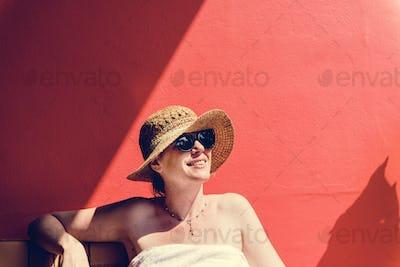 Caucasian woman sunbathing in summertime
