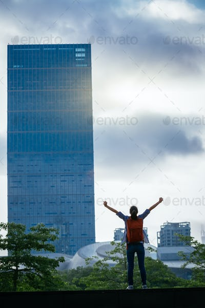 Cheering on sunrise city