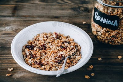 Organic homemade granola cereal with oats and nuts and dry cranberries.