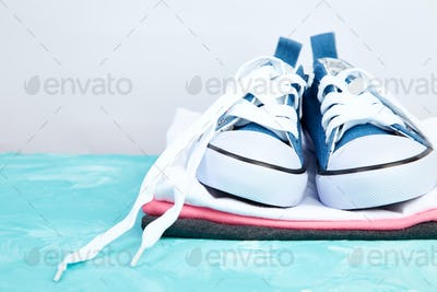Female sneakers shoes and tee