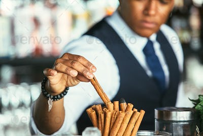 Detail of the hand of a bartender takes cinnamon stick