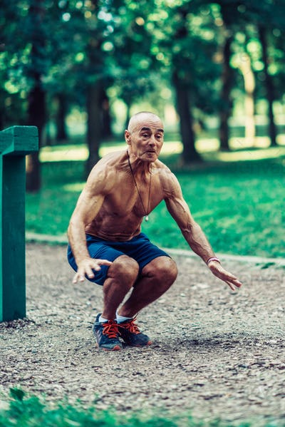 Senior man exercising outdoors
