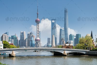 shanghai scenery on suzhou river