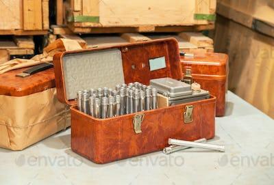 Set of the retro Soviet individual personal dosimeters
