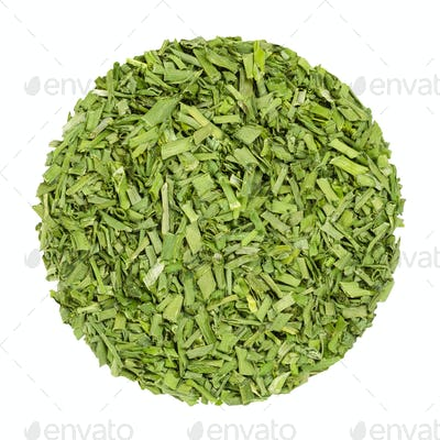 Dried chives, herb circle from above, over white