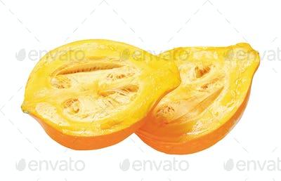 Halved ripe yellow pumpkin