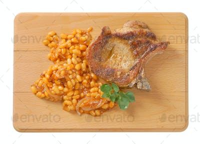 pork chop and baked beans