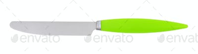 table knife with green plastic handle on white background