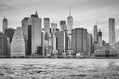Manhattan skyline at sunset, New York.