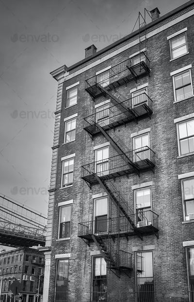 Old building with fire escape, NYC.