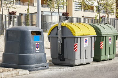 Containers for recycle paper plastic and organic. Waste segregation. Garbage