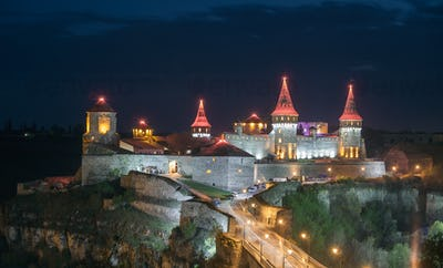 Kamianets Podilskyi in night