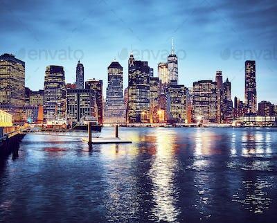 Manhattan skyline at dusk, New York.